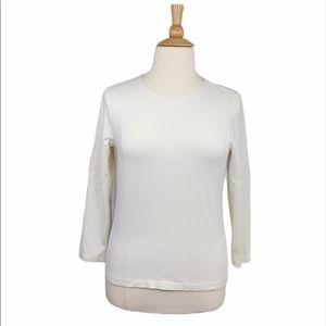 Liz & Co Cream Basic Long Sleeve Tee